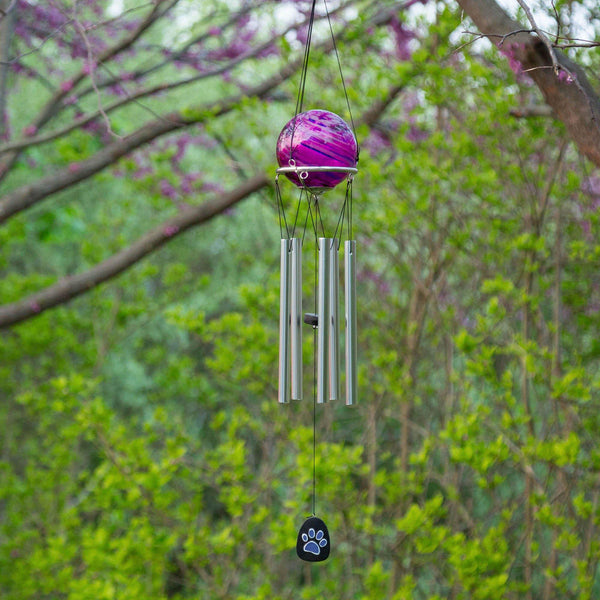 Purple Paw Swirl Wind Chime