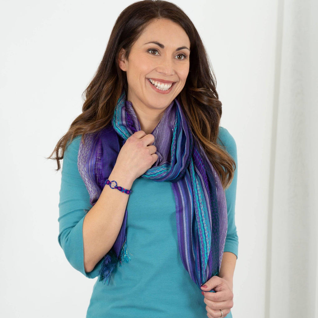 Dreaming Colors Hand-Loomed Scarf & Bracelet Set