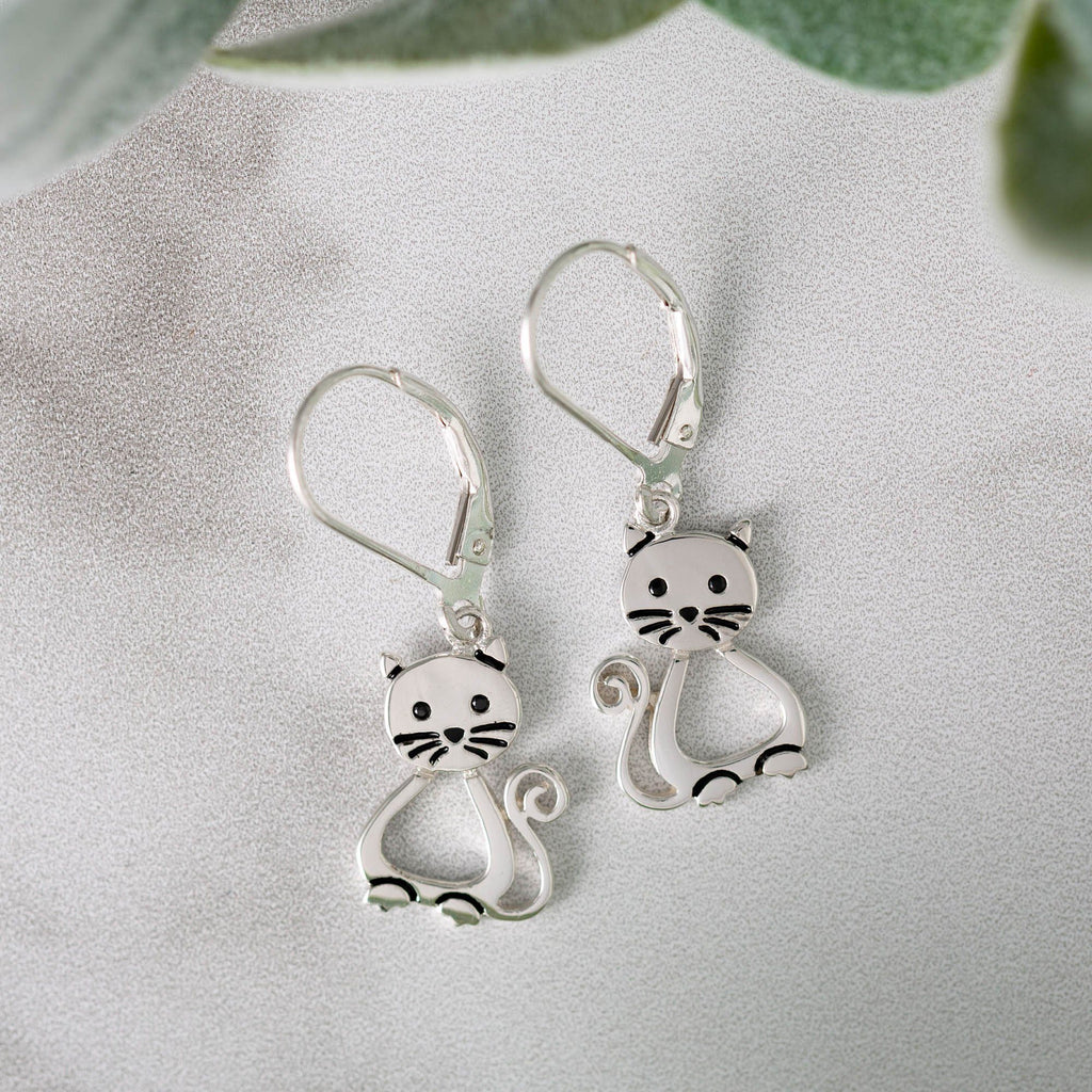 Sitting Kitty Sterling Earrings