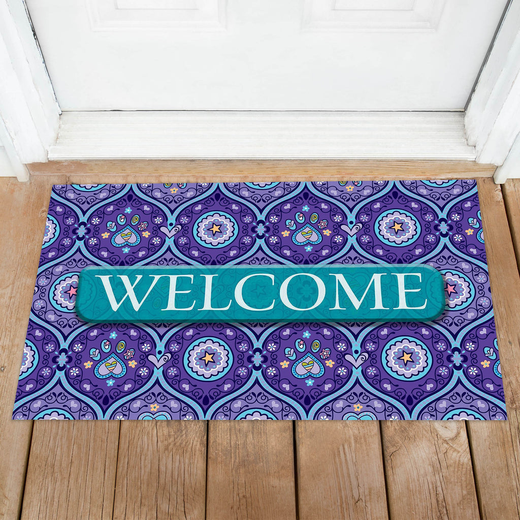 Toland Purple Paws Welcome Door Mat