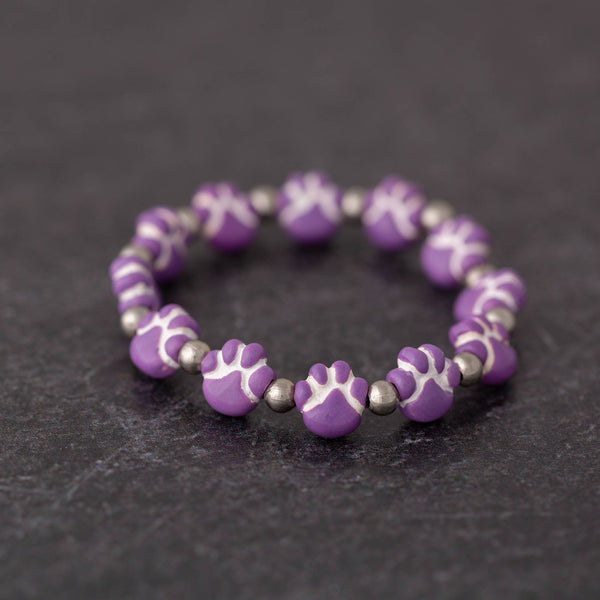 Ceramic Purple Paw Bracelet