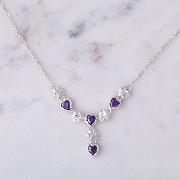 Amethyst Hearts & Paws Sterling Drop Necklace