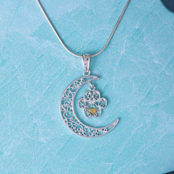 Filigree Moonlight Paw Sterling Necklace