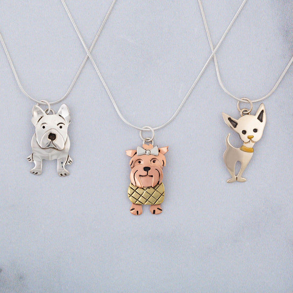 Darling Dog Mixed Metal Necklace