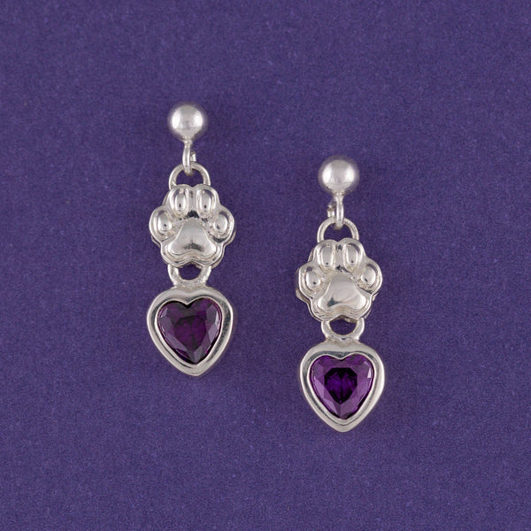 Amethyst Hearts & Paws Sterling Earrings
