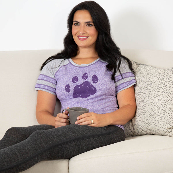 Purple Paw Heathered Football Tee