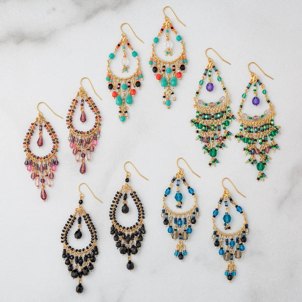 Dazzling Beaded Chandelier Earrings