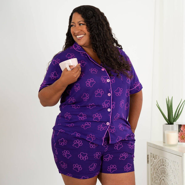 Purple Paw Pajama Shorts Set