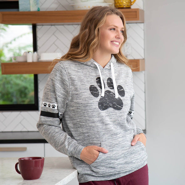 Paws & Stripes Heathered Pullover Hoodie