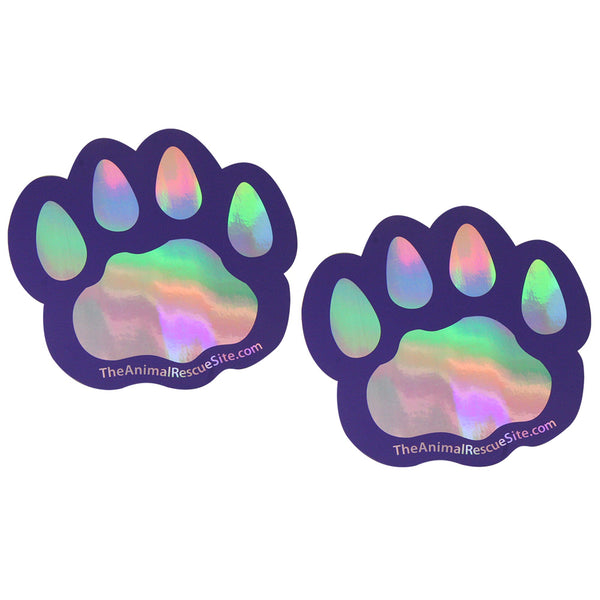 Prismatic Paw Print Magnets - Set of 2