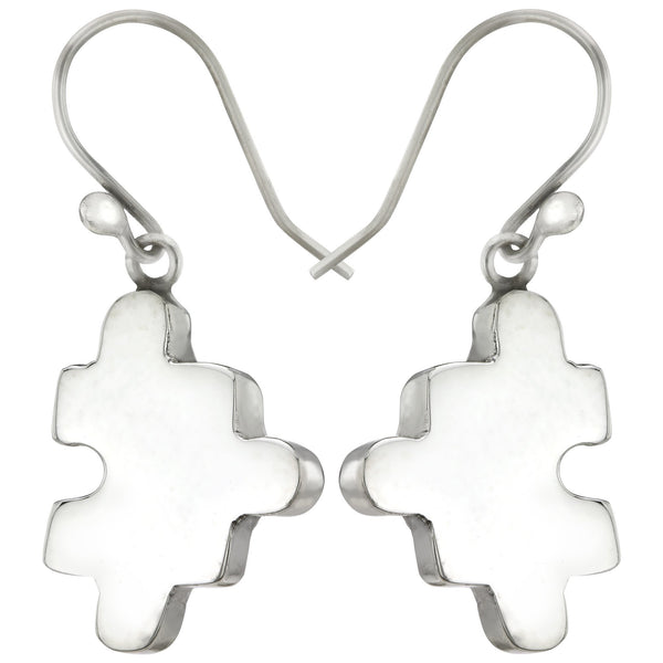 3D Puzzle Piece Sterling Earrings