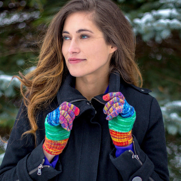 Rainbow Delight Touch Screen Gloves