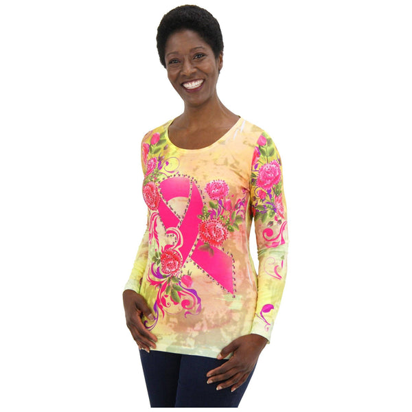 Rhinestone Pink Ribbon & Flowers Long Sleeve Top