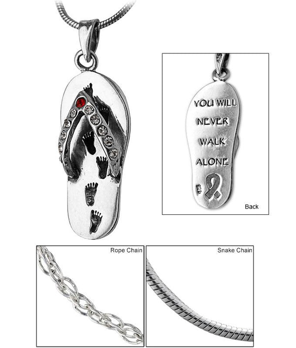 Never Walk Alone Diabetes Ribbon Flip Flop Sterling Necklace