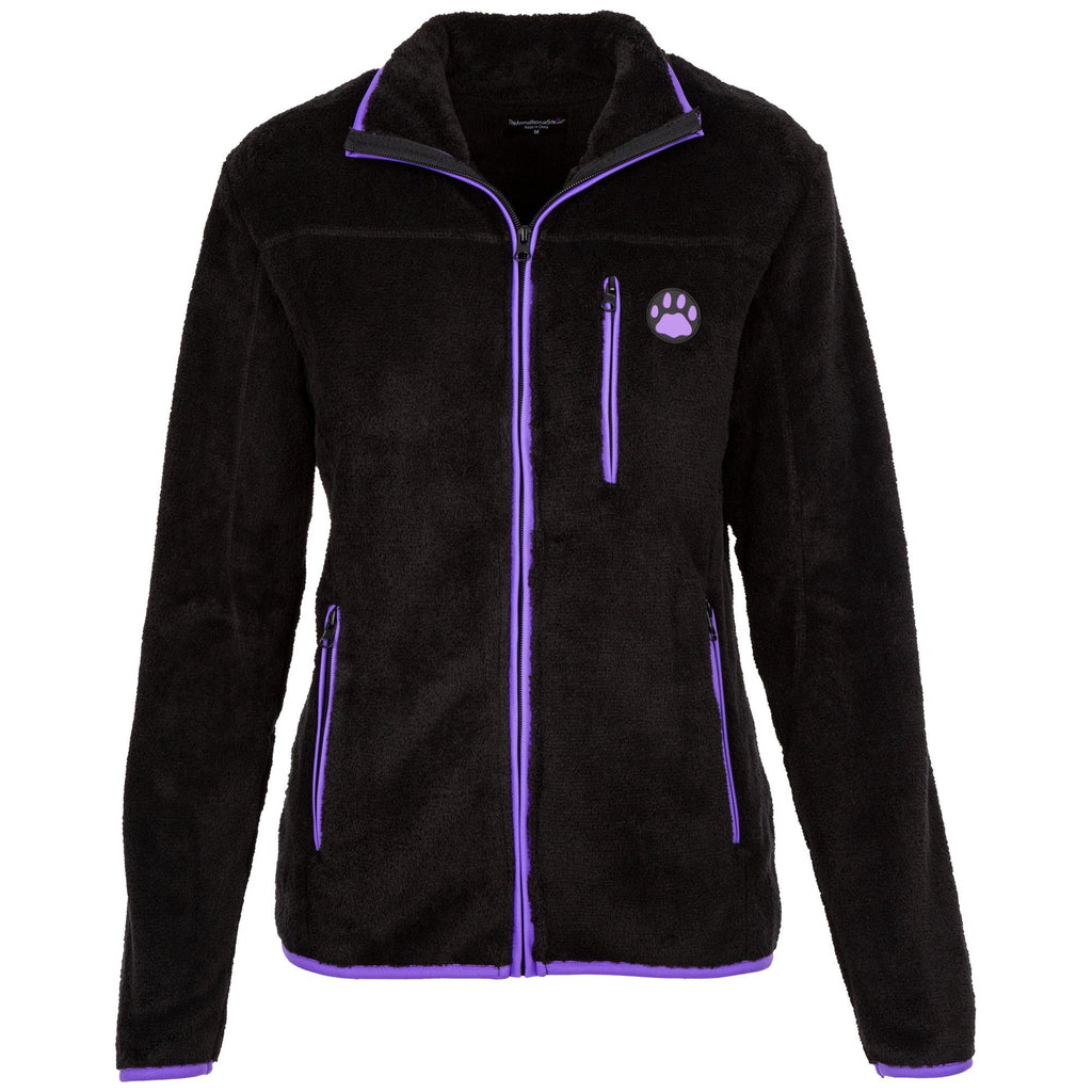 Women's Super Cozy Purple Paw Fleece Jacket