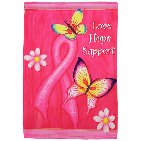 Love Hope Support Pink Ribbon Garden Flag