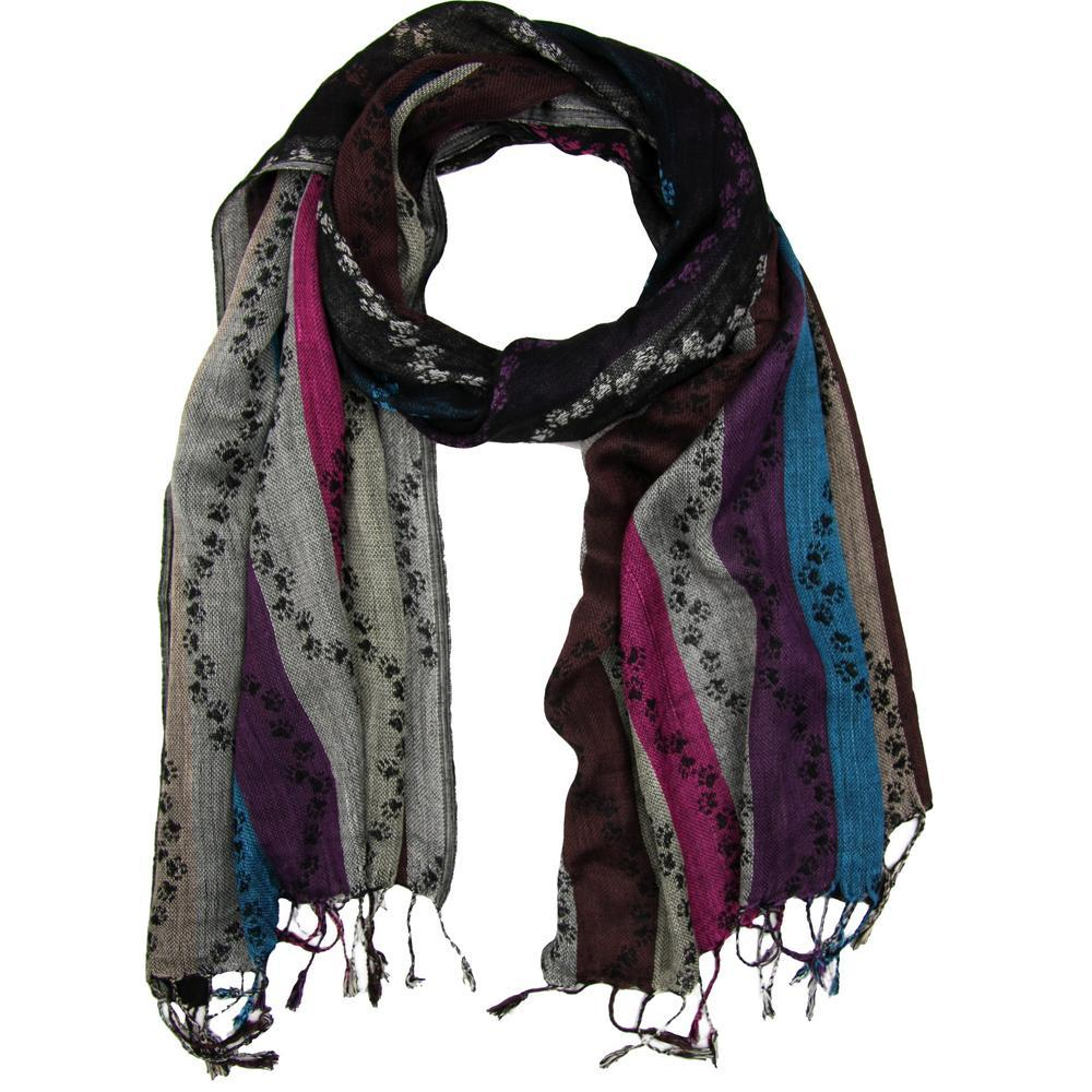 Walking Paw Prints Jamawar Scarf