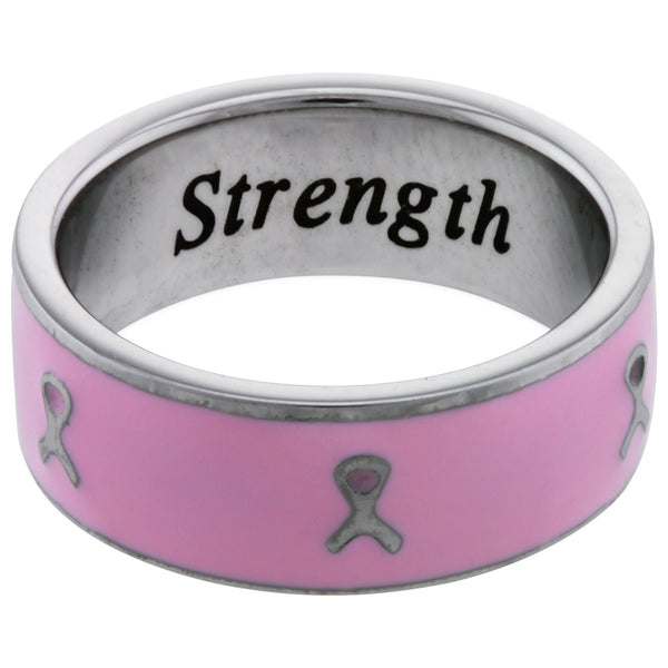 Pink Ribbon Inspiration Stainless Steel Ring