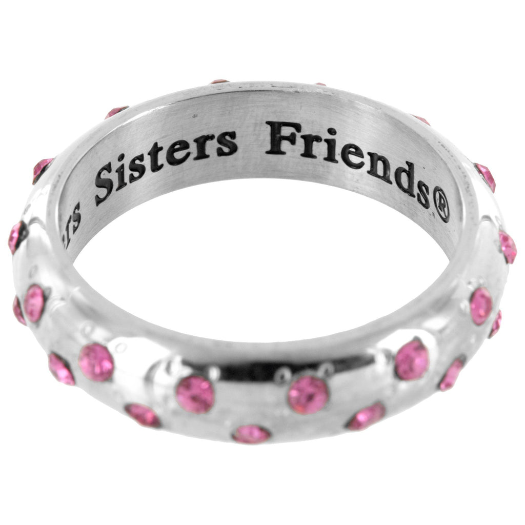 Mothers, Daughters, Sisters, Friends™  Pink Rhinestone Stainless Steel Ring
