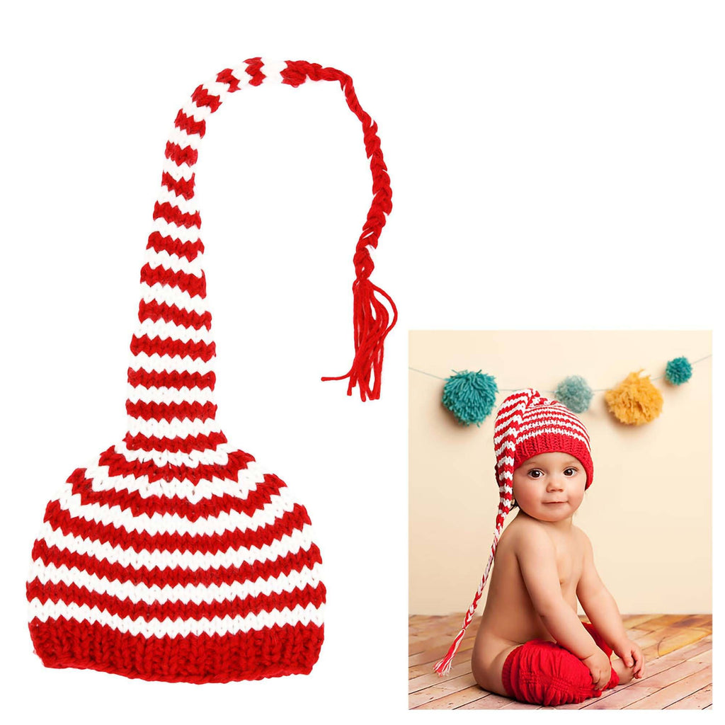 Red & White Striped Baby Beanie