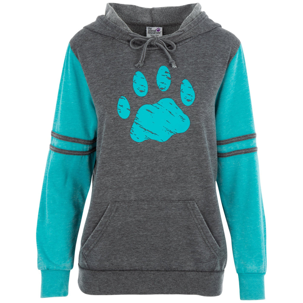 Purple Paw Stripe Burnout Pullover Hoodie