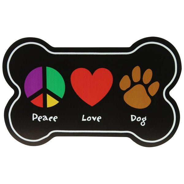 Peace Love Dog Car Magnet