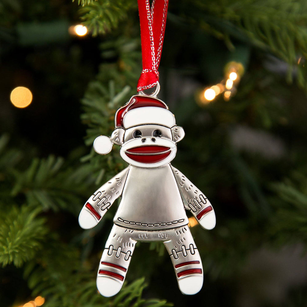 Happy Sock Monkey Ornament