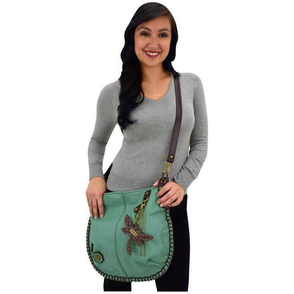 Crossbody Hobo Bag With Dragonfly Key Fob