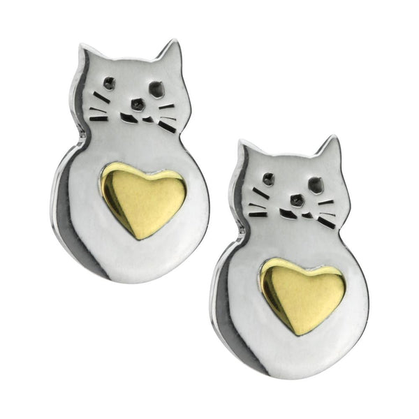 Love Cats Brass & Sterling Earrings