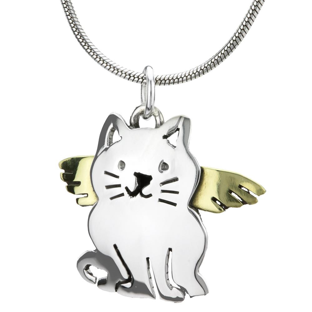 Angel Cat Brass & Sterling Necklace