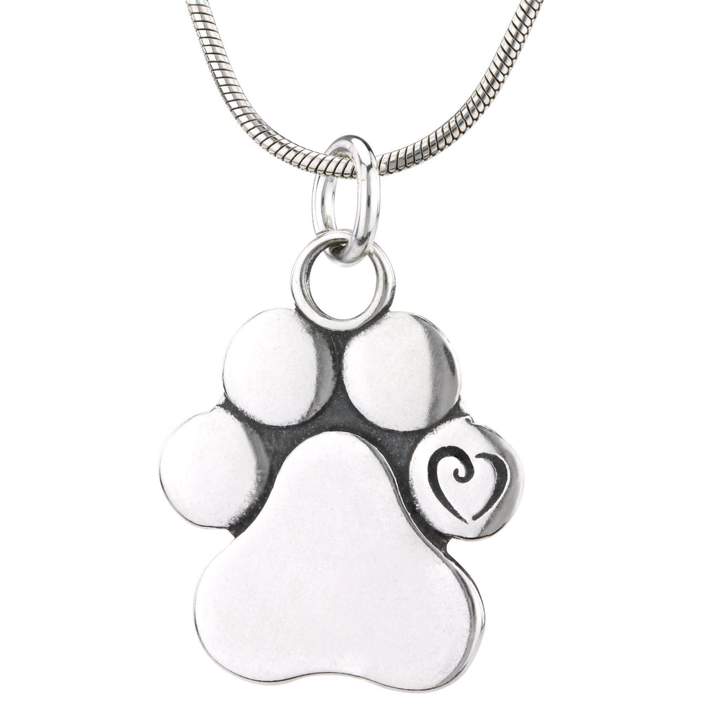 Unconditional Love Paw Print Recycled Sterling Necklace