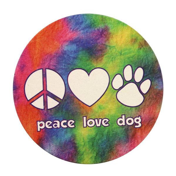 Peace Love Dog Car Coaster