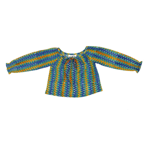 Long Sleeve Zig Zag Children's Peasant Top