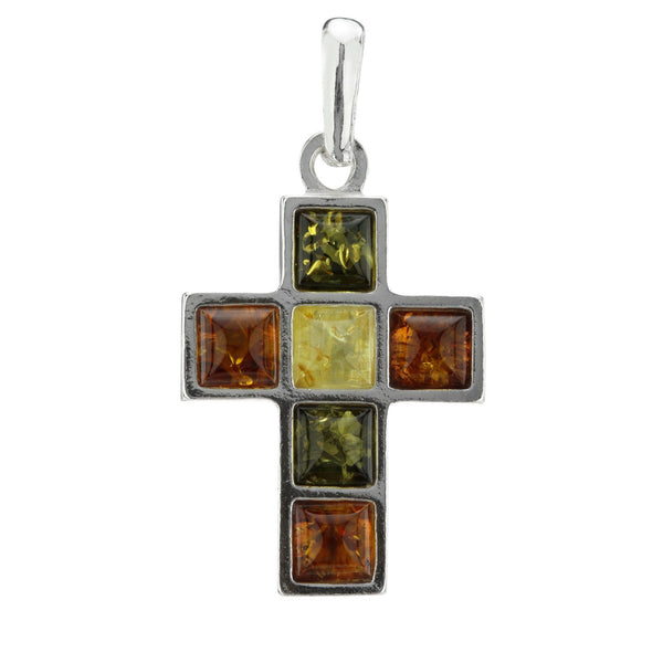 Multicolor Amber Cross Sterling Necklace
