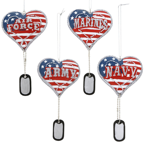 Military Service Heart & Dog Tag Ornament
