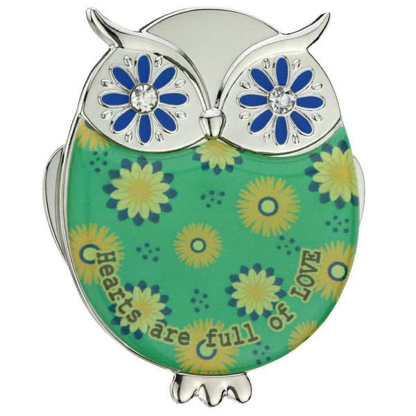 Promo - PROMO- Green Hearts Of Love Owl Visor Clip