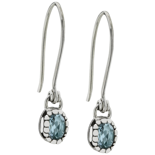 HSUS Sterling Paw & Blue Topaz Drop Earrings