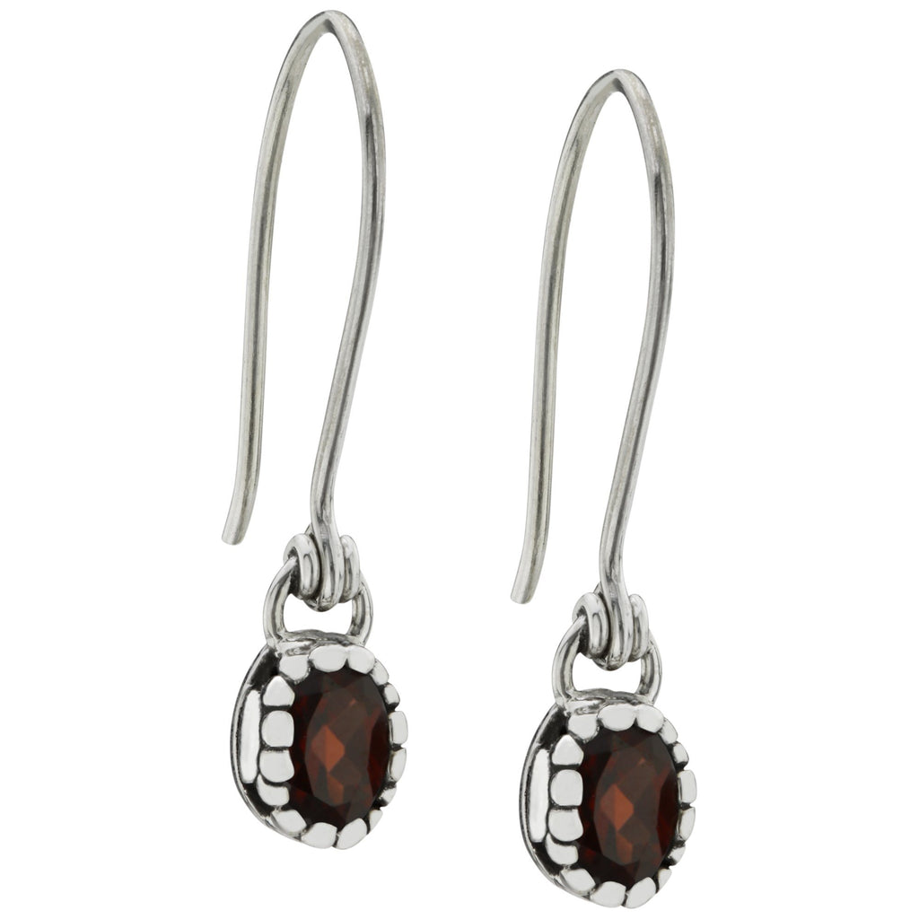 HSUS Sterling Paw & Garnet Drop Earrings