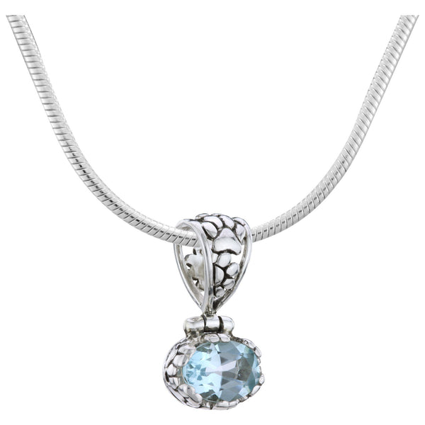 HSUS Sterling & Blue Topaz Sky Paw Necklace