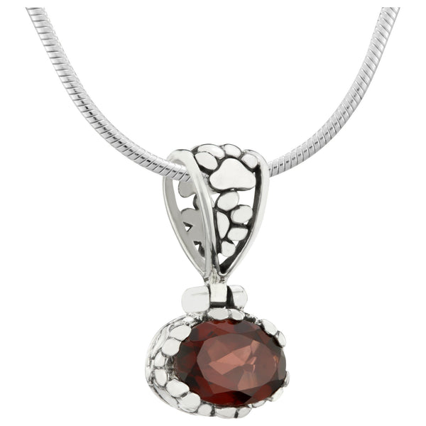 HSUS Sterling & Red Garnet Paw Necklace