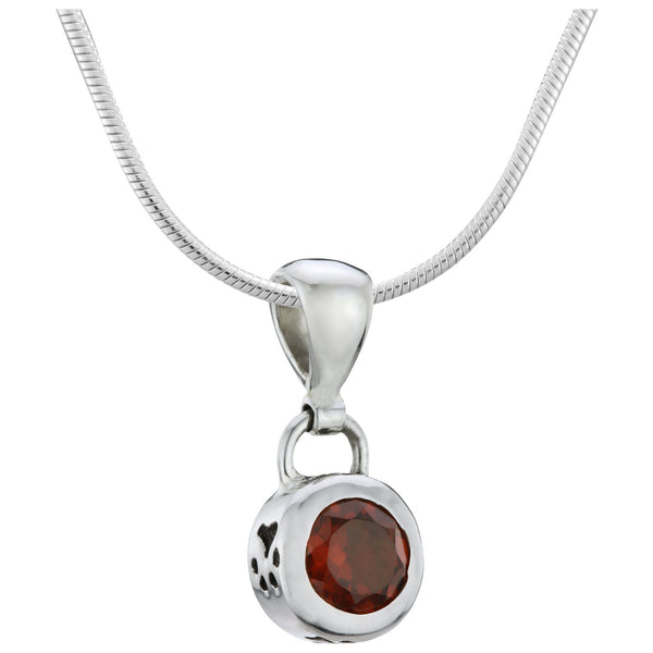 HSUS Sterling Paw & Garnet Necklace