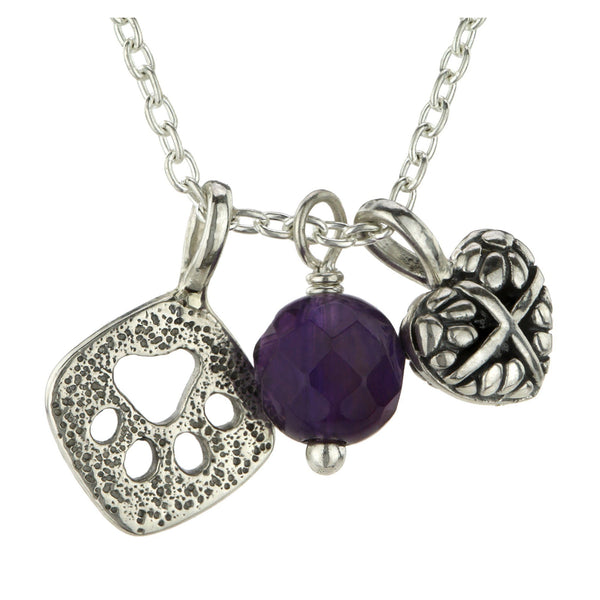 HSUS Sterling & Amethyst Paw Charm Necklace