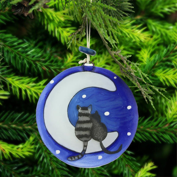 Moon Cats Recycled Glass Ornament