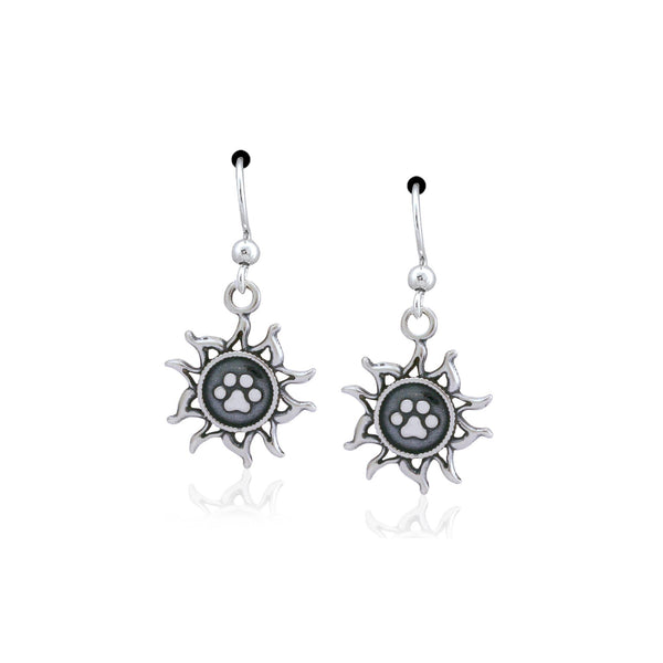 Paw Print Sun Sterling Earrings