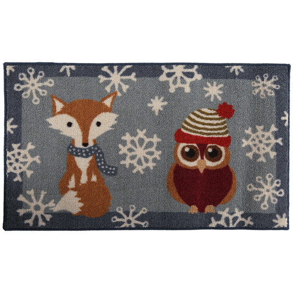 Snowy Woodland Friends Door Mat