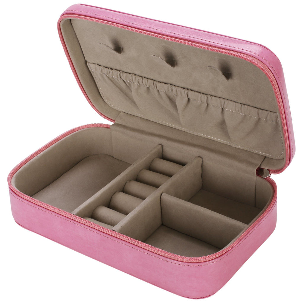 Royce Pink Leather Jewelry Travel Case