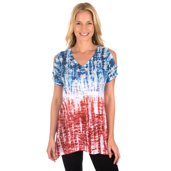 Tie Dye Americana Cold Shoulder Tunic