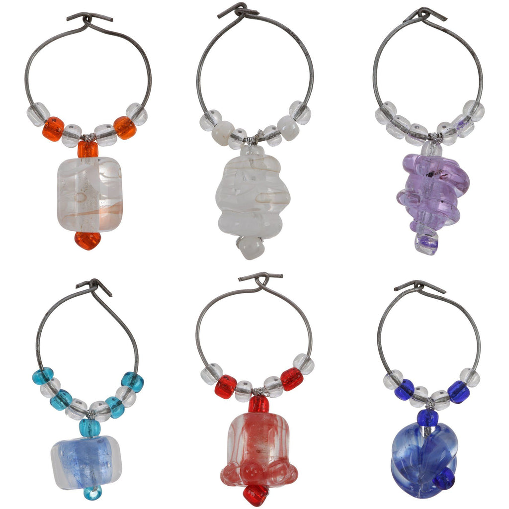 Nepali Glass Bead Wine Charms - Set Of 6