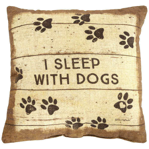 Primitives By Kathy® I Sleep With Dogs Throw Pillow