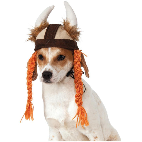 Viking Hat & Braids Pet Costume